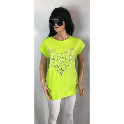 Love Feliratos Kiwi Zöld Színű Tunika Ruha (Vm641)