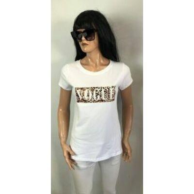 Fehér Vogue Feliratos  Póló (Vm2268)