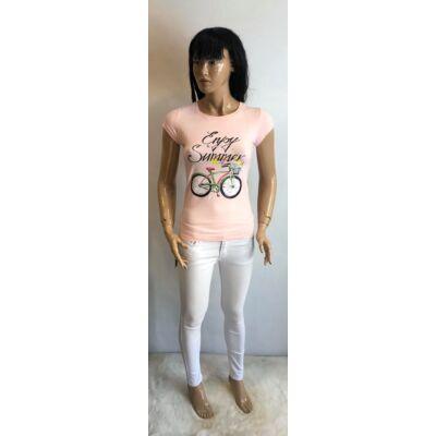 Victoria  Enjoy Feliratos Rózsaszín Póló (Vm1582)