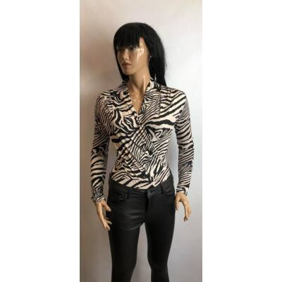 Krém-Fekete Zebra Mintás Átlapolt Bodys Felső (Vm1147)
