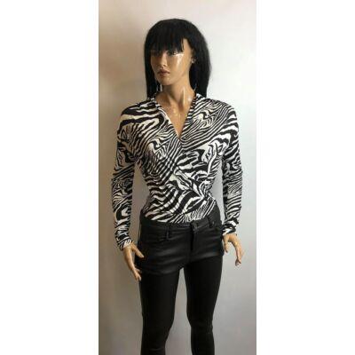 Fehér-Fekete Zebra Mintás Átlapolt Bodys Felső (Vm622)