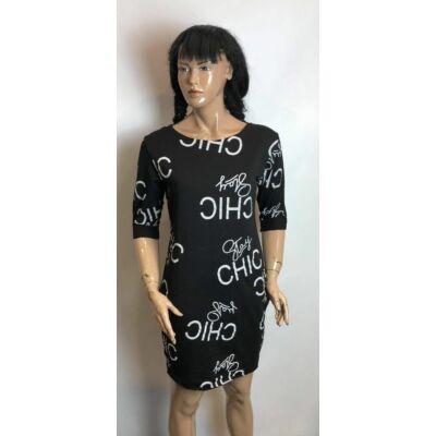 Fekete Szinű Chic Feliratos Tunika Ruha (Vm104)