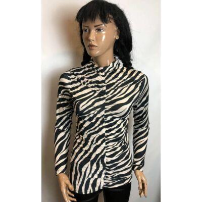 Krém-Fekete Zebra Mintás Álló Nyakú Húzott Felső (Vm779)
