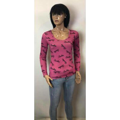 V Nyakú Ciklámen Barbie Mintás Felső  (Vm1439)