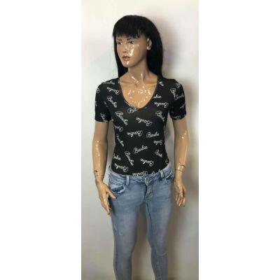 V Nyakú Rövid Ujjú Fekete Barbie Mintás Felső Body  (Vm1012)