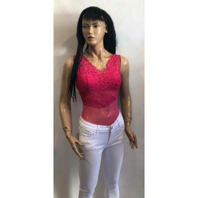 Pink Fodros Csipke Bodys Felső (Vm1082)