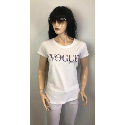Fehér, Lila  Vogue Feliratos  Póló (Vm1259)