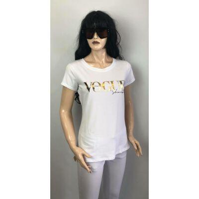 Fehér, Arany  Vogue Feliratos  Póló (Vm1260)