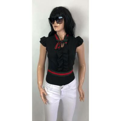 Fekete Ujjatlan Fodros Gucci Mintás  Bodys Felső (Vm128)