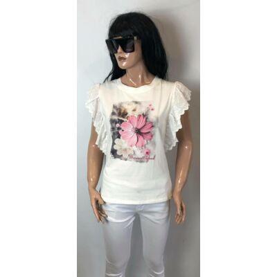 Fehér Pamut Fodros Virág Mintás Felső (Vm2038)