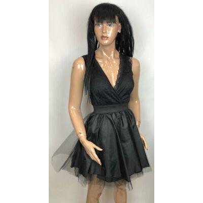 Fekete Csipkés Tütüs Szoknyás Alkalmi Ruha (Vm337)