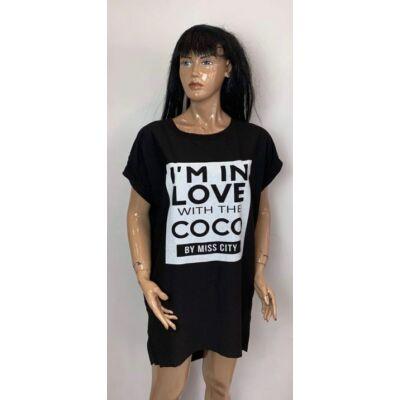 Fekete Szinű New Coco Feliratos Tunika Ruha (Vm1351)