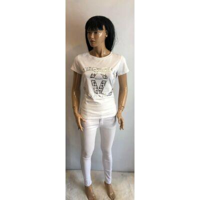 Timiami Beauty Feliratos Fehér Póló (Vm1589)