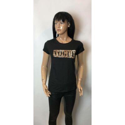 Fekete Vogue Feliratos  Póló (Vm1306)