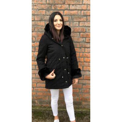 Feifa Parka Fekete Téli Kabát  (Vm52)