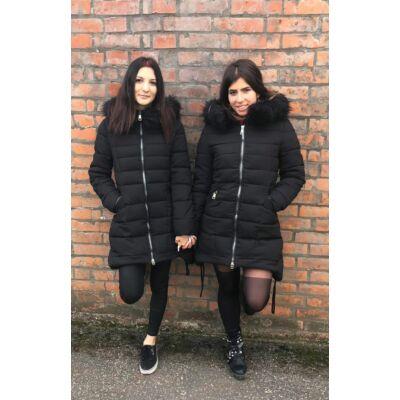 Yes Pink Fekete Téli Kabát  Fém Cippzárral (Vm802)