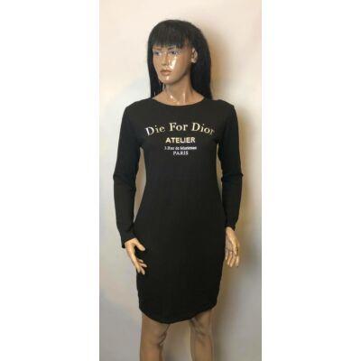 Fekete Dior Feliratos Tunika Ruha (Vm723)