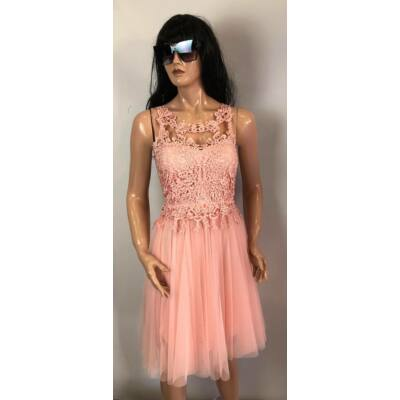 Rózsaszín Csipke Betétes Alkalmi Ruha  (Vm988)