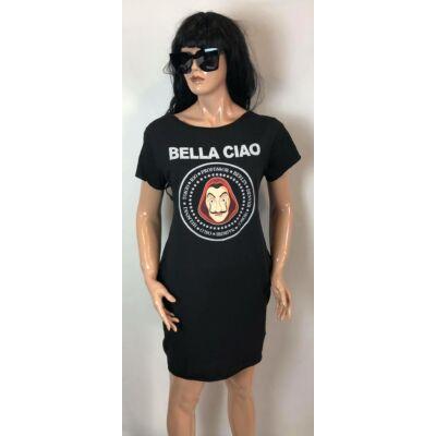 Fekete Bellaciao Feliratos Tunika Ruha (Vm1060)