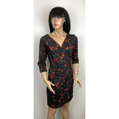 New Style Átlapolt Fekete-Piros Szíves Ruha (Vm161)