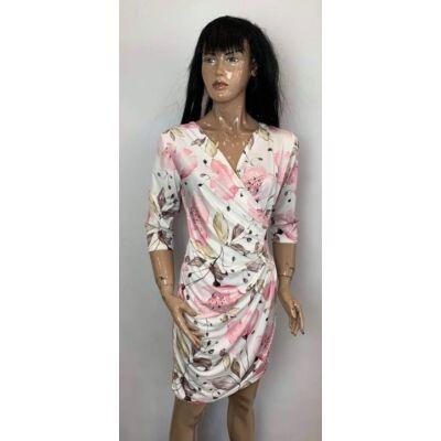New Style Átlapolt Fehér-Rózsaszín Virágos Ruha (Vm1348)
