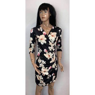 New Style Átlapolt Fekete-Rózsaszín-Vaj Színű Virágos Ruha (Vm1349)