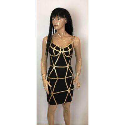 Kiki Riki Kosaras Arany-Fekete Alkalmi ruha (Vm217)