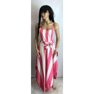 Pink Fehér Csíkos Vékony Pántos Hosszú Ruha  (Vm846)