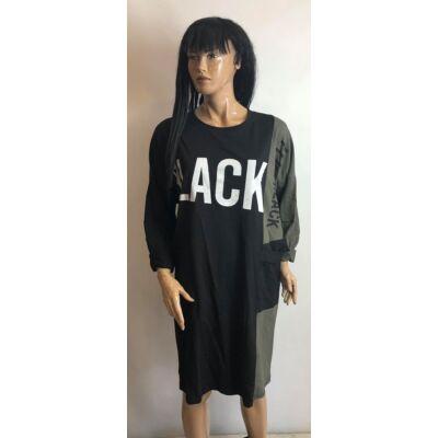 Fekete-Keki Black Feliratos Tunikás  Felső (Vm1701)